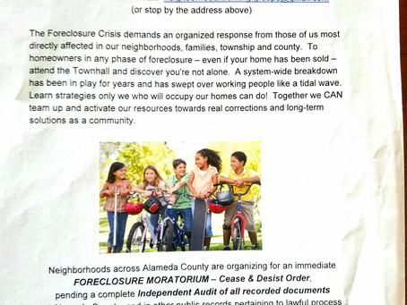 """RETROSPECTIVE 2012: Berkeley's first Foreclosure Townhall presented with """"Homeowners for Justice"""""""