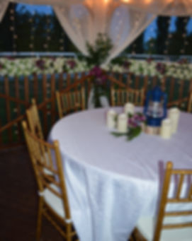Round Tables with Gold Chiavari Chairs