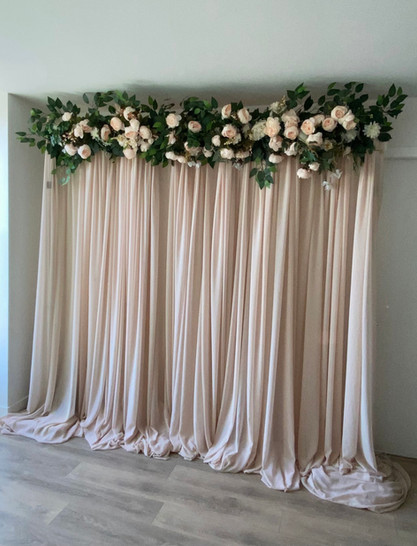 Blush Pink Draping + Florals & Pipe & Dr