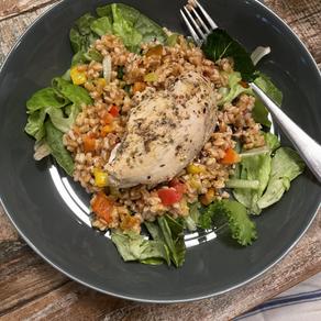 Farro Salad with Lemon-Oregano Chicken