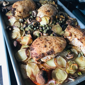 Sheet-Pan Chicken with Potatoes, Mushrooms and Capers