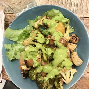 Sausage, Potato and Veggies Pan Roast with Green Tahini Sauce