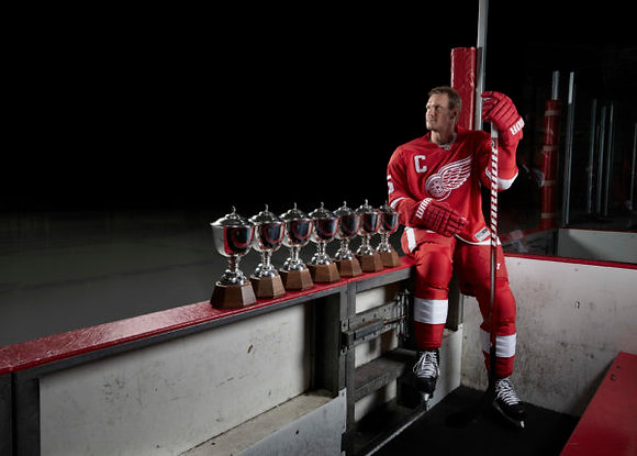 Nick Lidstrom with Trophies