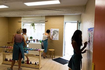 Jeu de peindre, peinture, enfants, volubilis, atelier vaison