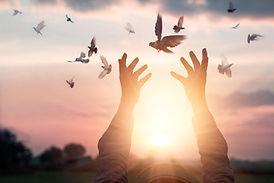 woman-praying-free-bird-enjoying-nature-