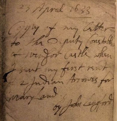 Cover of the Letter for the first delivery of Maryland's Rent, 1633.  Courtesy of the Maryland Historical Society, The Calvert papers, #841.