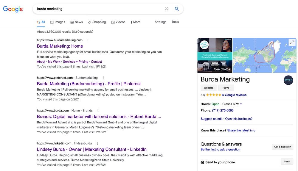 Burda marketing Google My Business Profile