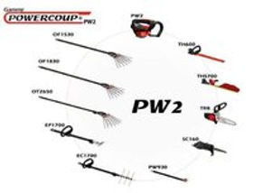 Powercoup PW2  herramienta multifunción infaco  ingeniero de coulon, serrucho eléctrico, motosierra eléctrica, desbrotador de viñas, vibrador de olivos, cosecha de olivos, peine olivos