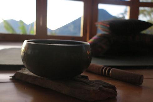 singing bowl, Tibetan bowl, meditation cushion, volcano