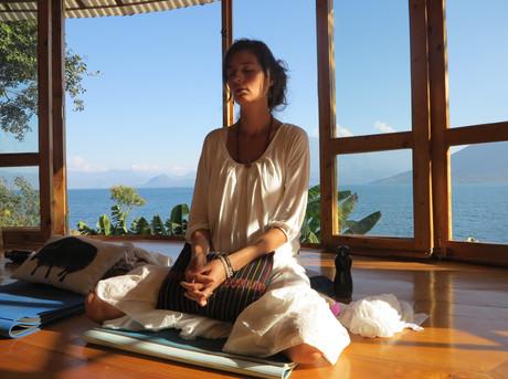 Volcanos, lake and sunshine meditation