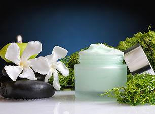 Glass cream jar open algae. Flowers, bla