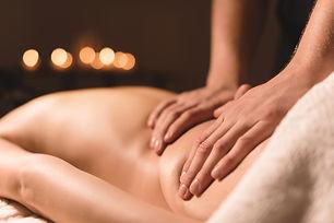 Close-up male hands doing healing massag