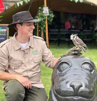 Explorer Allan and Dobby the white-faced owl at Titanic Maritime Festival
