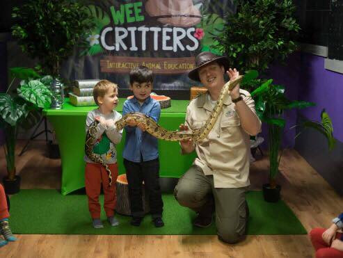Little explorers meet Nagini the snake with explorer Allan