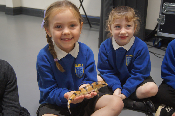 Children meeting Smaug the Peter' banded skink