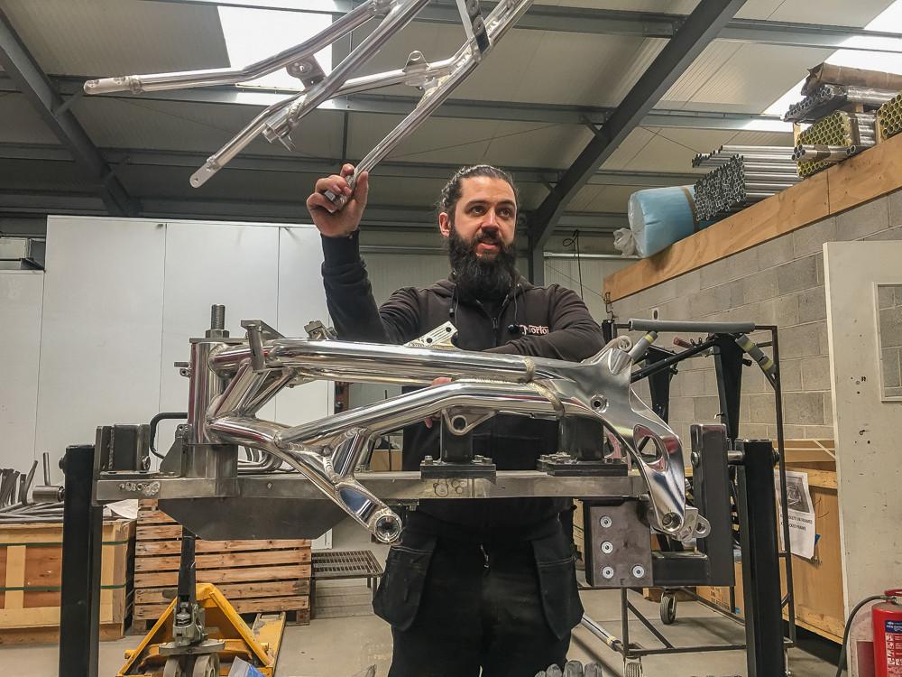 Spondon frame at Norton factory