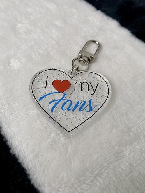 i love my fans glitter keychain