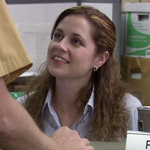 """Jenna Fischer playing Pam Beesly on """"The Office""""."""