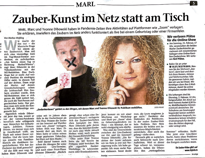 Marler Zeitung 300121 OnlineShows Dibowski