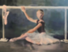 Dancer at the barre: 30 x 40 : acrylic.j