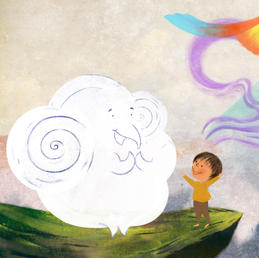 Illustration and Design for a children's book titled 'The Adevntures of an Elephant Cloud.'