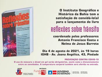 """Professor Antonio Costa lança livro """"Reflexões sobre trânsito"""", dia 4 de agosto, no IGHB"""