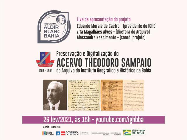 Documentos do engenheiro Theodoro Sampaio, pertencentes ao acervo do IGHB, serão digitalizados
