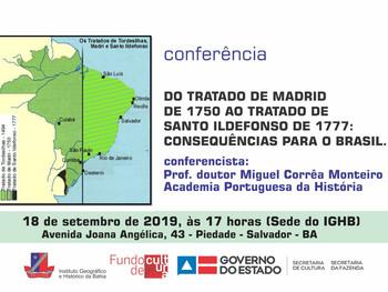 Professor Miguel Corrêa Monteiro fala sobre o Tratado de Madrid em conferência no IGHB, dia 18 de se