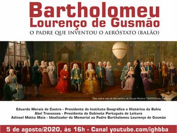 IGHB e GPL prestam homenagem virtual ao Padre Bartholomeu Lourenço de Gusmão