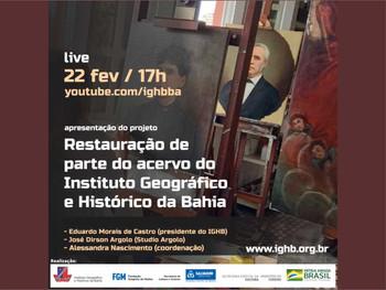 Projeto vai restaurar telas pertencentes ao acervo do Instituto Geográfico e Histórico da Bahia