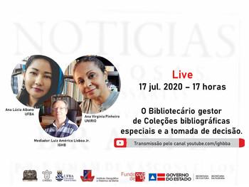 Live dia 17 de julho, às 17h vai debater a atuação do Bibliotecário