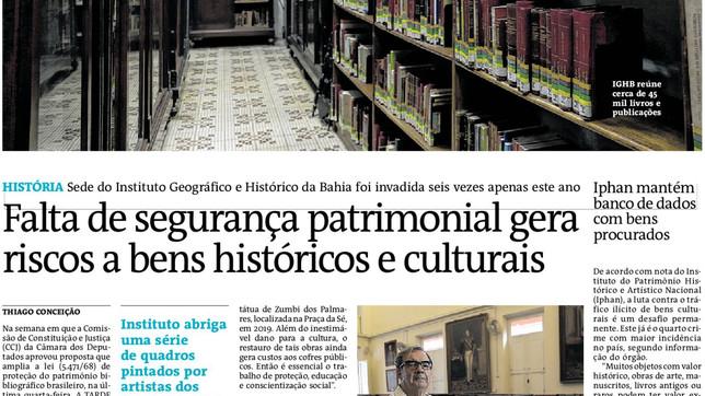 Falta de segurança patrimonial gera riscos a bens históricos e culturais