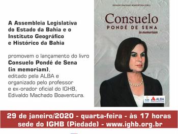 Livro em homenagem a ex-presidente do IGHB, Consuelo Pondé de Sena, será lançado dia 29 de janeiro