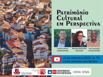 """""""Patrimônio Cultural em Perspectiva"""" será debatido em live nesta quinta(24) de setembro"""