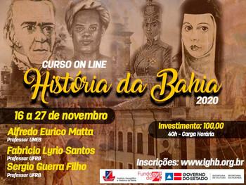 IGHB promove curso on-line de História da Bahia - Aulas acontecem de 16 a 27 de novembro