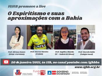 """""""O Espiritismo e suas aproximações com a Bahia"""" é tema da primeira live de 2021, no IGHB"""