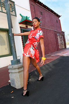 Los Angeles, Chinatown, model, china girl, African American, Tiffany, outdoor