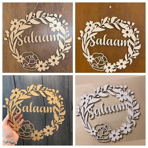 Salaam wooden wreath