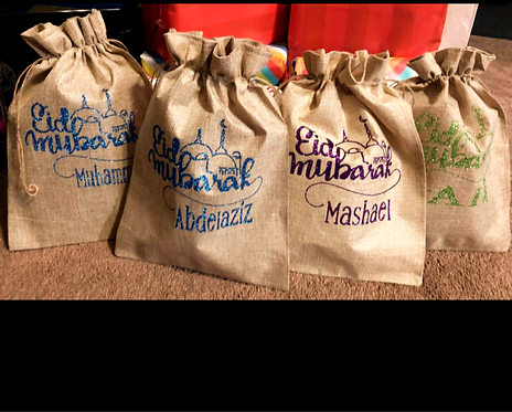 Personalized Eid Gift Burlap Bags