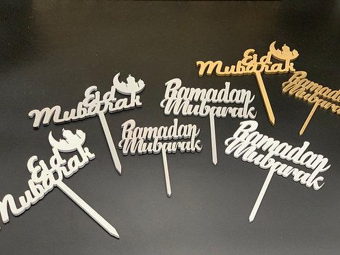 Ramadan & Eid Mubarak Cake Toppers