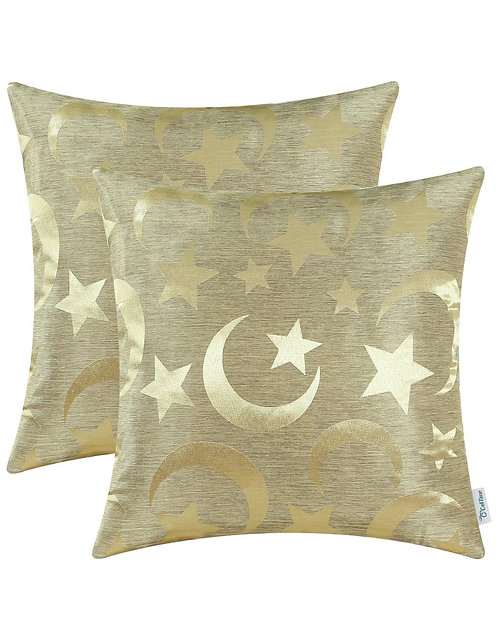 Ramadan/eid  moon and star accent pillow case