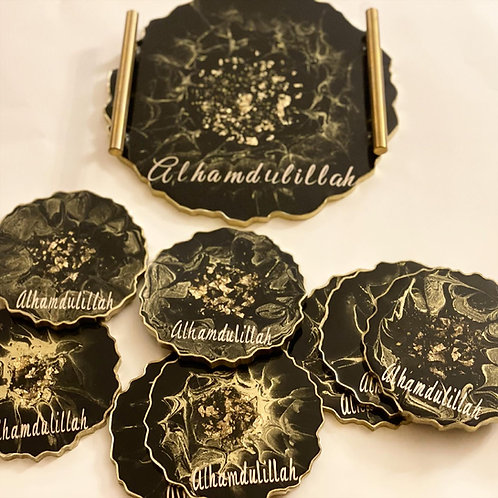 Resin Alhamdullilah tray and four coasters