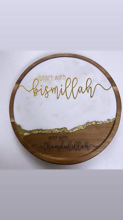 "12"" resin lazy Suzan start with bismilah end with Alhamdulillah"