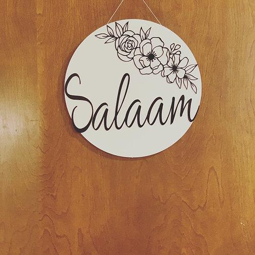 Acrylic salaam round sign