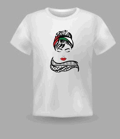 Palestinian woman kufeya t shirt cotton made with vinyl decal