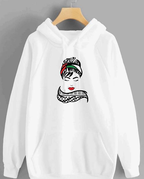 Palestine woman kufeya hoodie cotton hoodie with vinyl decal