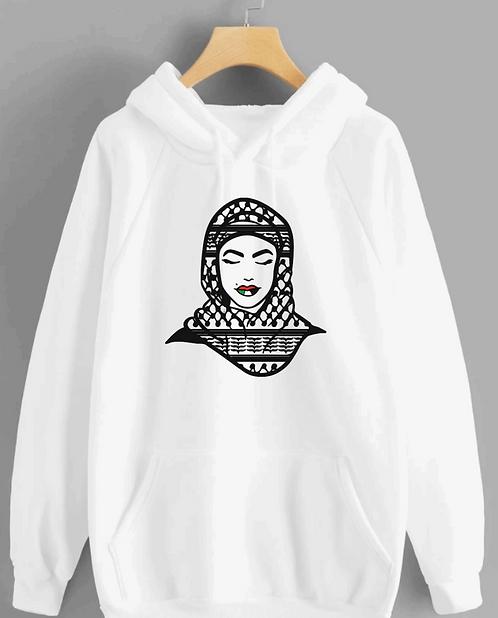 palestinian hijab kufeya  hoodie cotton hoodie with vinyl decal