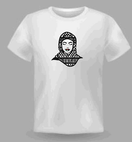 Palestinian woman hijab kufeya t shirt cotton made with vinyl decal