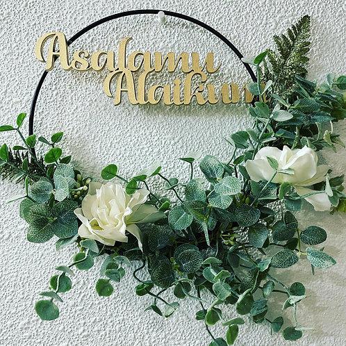 "10""  wreath ring with the words asalamu alaikum"