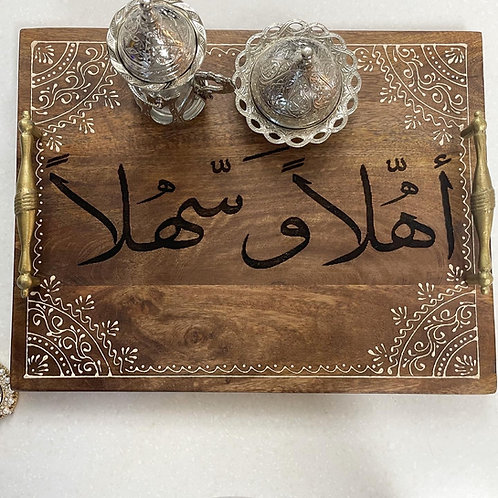 Beautiful ahlan wa sahlan wooden engraved tray